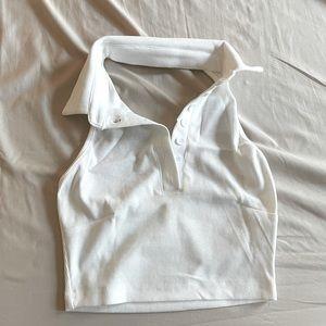 White Collard Halter Crop Top